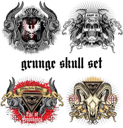 satanist: grunge skull coat of arms skull set