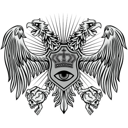 grunge eagle with skull coat of arms Illustration