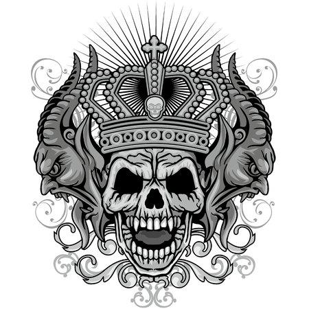 grungeschedel wapenschild Stock Illustratie