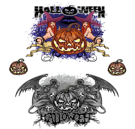 Halloween pumpkin set Illustration