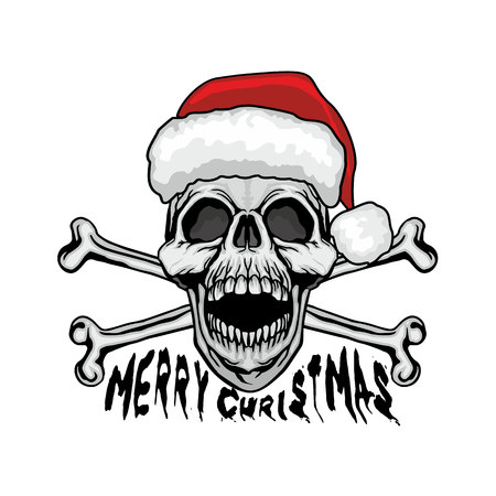 Christmas skull grunge illustration.