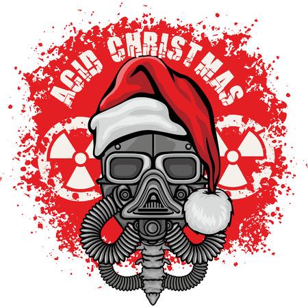 Navidad del diseño del cráneo-grunge.vintage camisetas Ilustración de vector