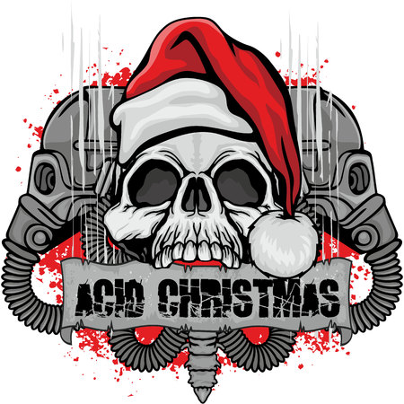 Christmas skull-grunge design for t-shirt.