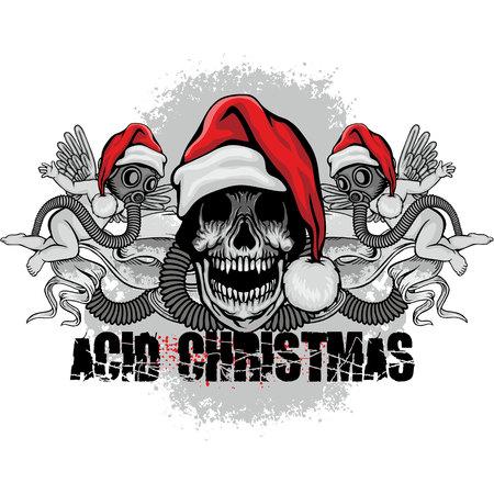 Christmas skull-grunge.vintage design t-shirts.
