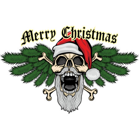 Christmas skull-grunge.Vintage design t-shirts Illustration