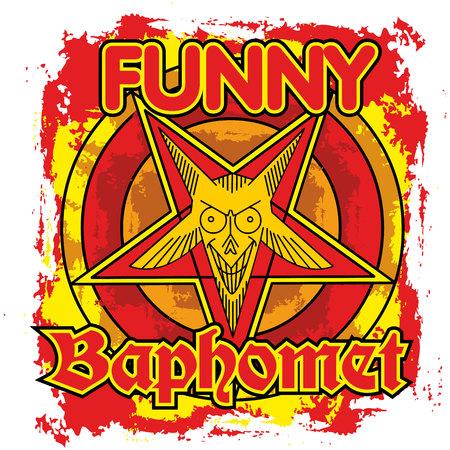 Funny baphomet, grunge vintage design t-shirts