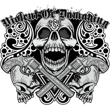 Grunge skull coat of arms.