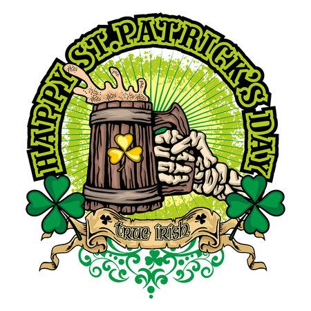 Iers wapenschild met schedel en klaver, grunge vintage ontwerpt-shirts.