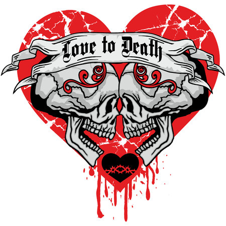 Valentines skull with heart, grunge vintage design t-shirts