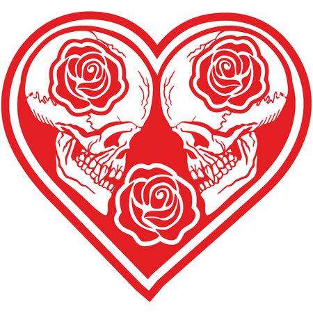 Cranio di San Valentino con cuore, t-shirt design vintage grunge Archivio Fotografico - 94274777