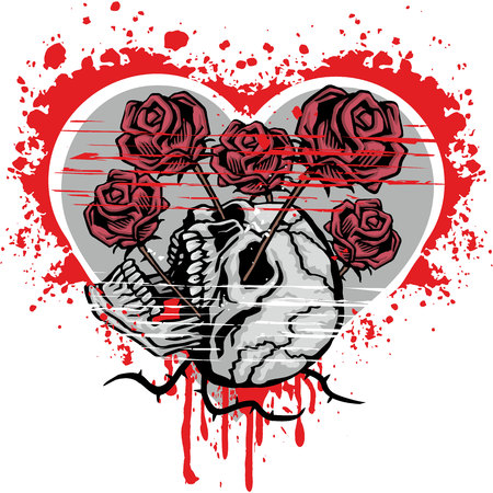 valentines skull with heart, grunge vintage design