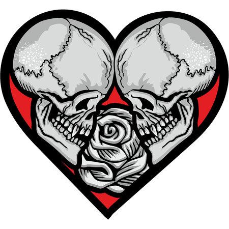 valentines skull with heart, grunge vintage design t shirts Ilustrace