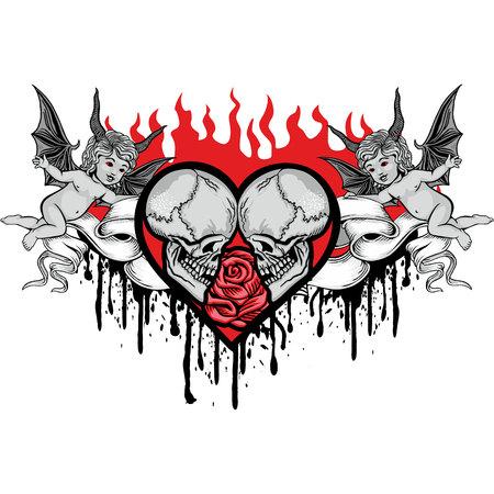 valentines skull with heart, grunge vintage design t shirts Illustration