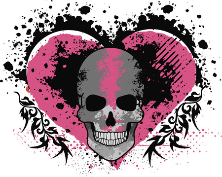 Valentines skull with heart, grunge vintage design for t-shirts.