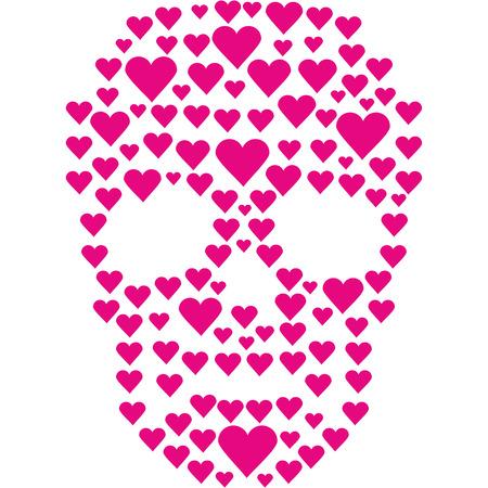 Valentine skull with heart, grunge vintage design for t-shirts. Illustration