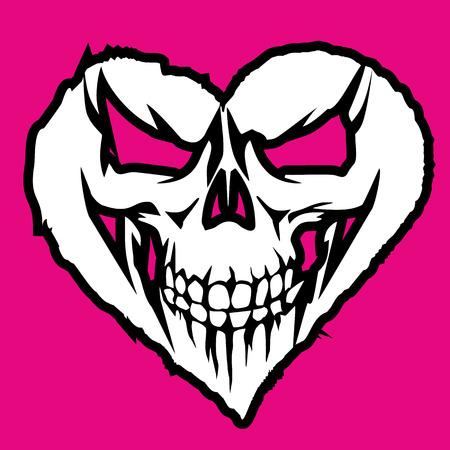 心臓付きバレンタイン頭蓋骨、グランジヴィンテージデザインTシャツ  イラスト・ベクター素材