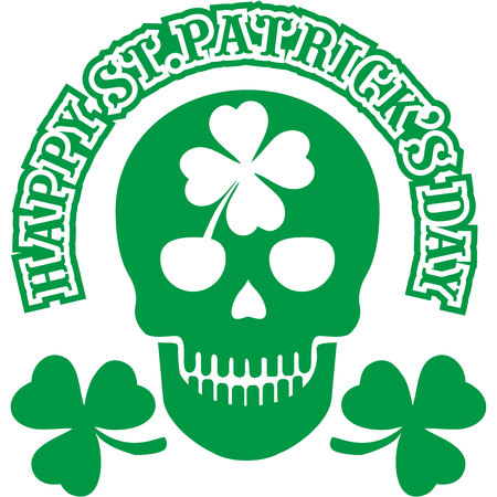 Irish coat of arms with skull and clover, grunge vintage for St Patricks Day