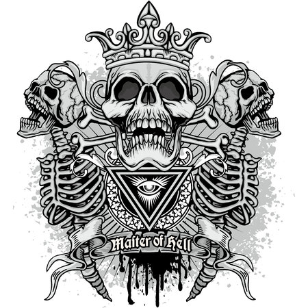 Gothic coat of arms with skull, grunge vintage design t shirts.  イラスト・ベクター素材