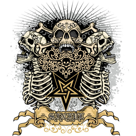 Gothic coat of arms with skull, grunge vintage design t-shirts.  イラスト・ベクター素材