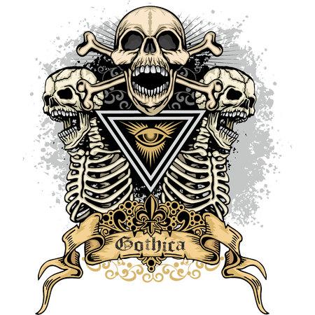 Skull and bones image illustration