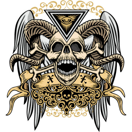 Skull and bones image illustration