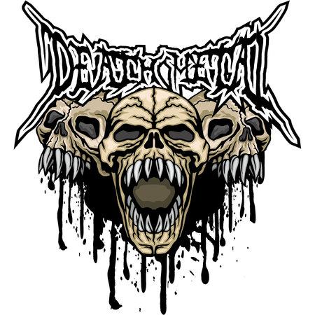 Escudo de armas gótico con calavera, diseño vintage grunge Ilustración vectorial.