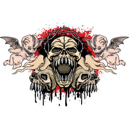 Gothic coat of arms with skull, grunge vintage design Vector illustration.