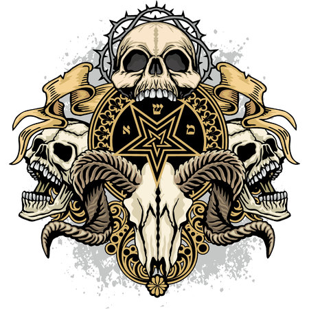 Gothic coat of arms with skull, grunge vintage design t-shirts. Illustration