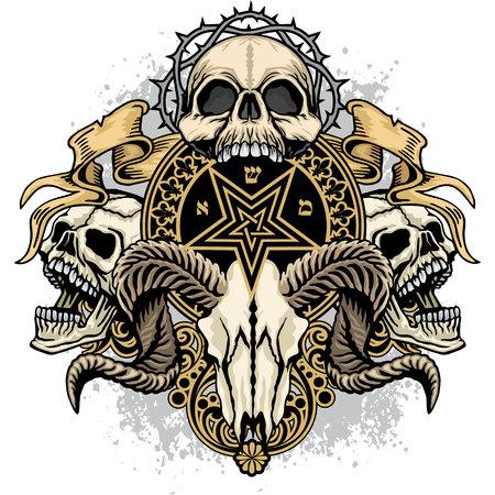 Gothic coat of arms with skull, grunge vintage design t-shirts. Illustration