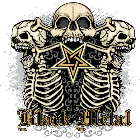 Gothic coat of arms with skull, grunge vintage design t-shirts. Ilustrace