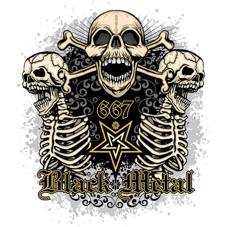 Gothic coat of arms with skull, grunge vintage design t shirts
