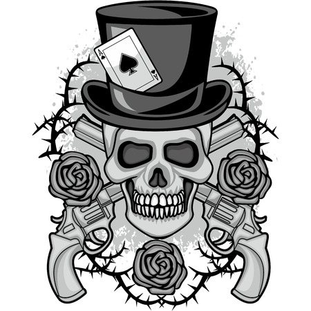 Gothic coat of arms with skull, grunge vintage design  shirts Vector illustration.