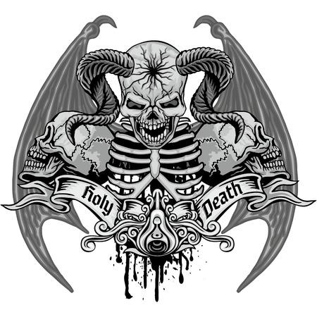 Gothic sign with skulls, grunge vintage design t shirts Illustration