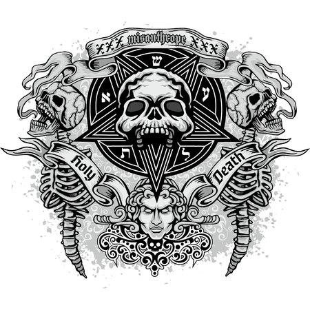 Gothic sign with skull, grunge vintage design t shirts  イラスト・ベクター素材