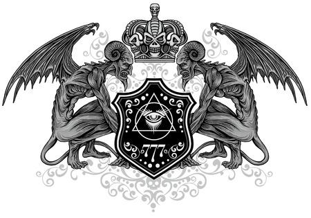 Gothic sign with skull, grunge vintage design t shirts Vektorgrafik