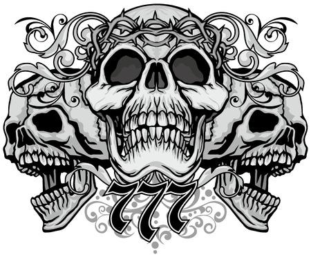 Stemma gotico con teschio, t-shirt design vintage grunge Vettoriali