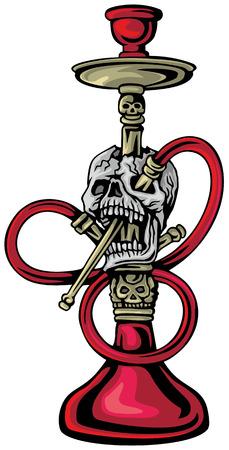 Gothic shisha with skull. Grunge vintage design for t-shirt printing