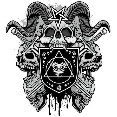 Armoiries gothiques avec crâne, t-shirts design vintage grunge