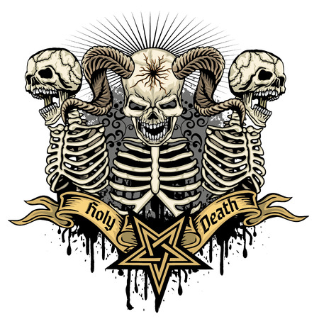 Gothic coat of arms with skull, grunge vintage design t shirts Banque d'images - 114056728
