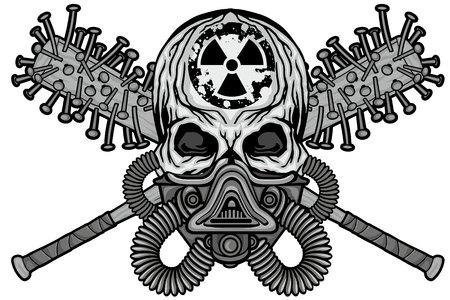 Signo gótico con calavera, camisetas de diseño vintage grunge Ilustración de vector