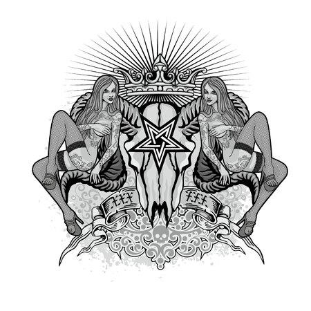 Gothic sign with skull, grunge vintage design t shirts Illustration