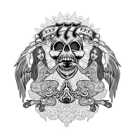 Gotisches Schild mit Totenkopf und tätowierten Mädchen, Grunge-Vintage-Design-T-Shirts