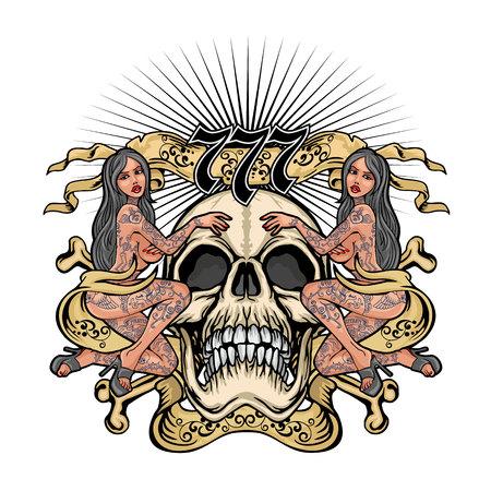 Gotisches Schild mit Totenkopf und tätowierten Mädchen, Grunge-Vintage-Design-T-Shirts Vektorgrafik