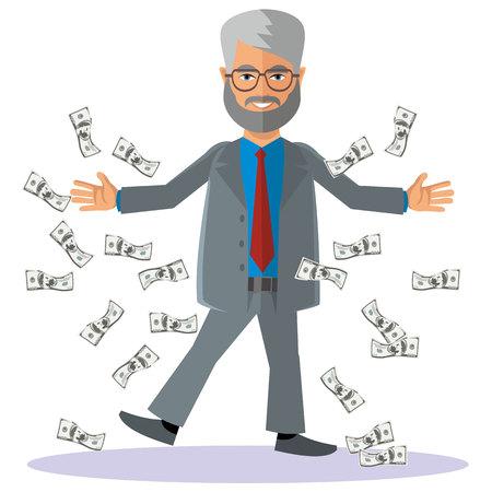 flat man businessman with money