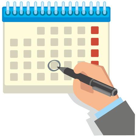 flat hand draws a calendar Ilustrace