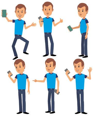 flat man holds phone Ilustrace