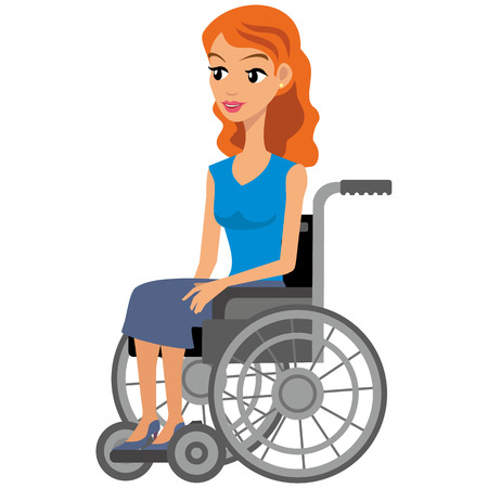 Disabled girl sitting in a wheelchair, people, wheelchair, wheel, chair Illustration