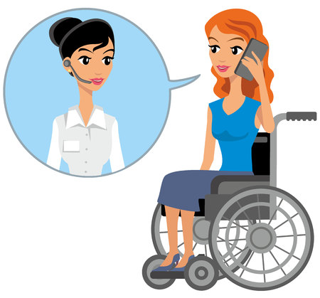 disabled girl sitting in a wheelchair and talking on the phone