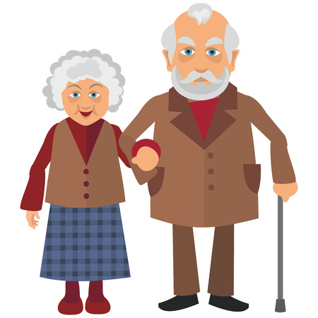 old woman and grandfather are walking