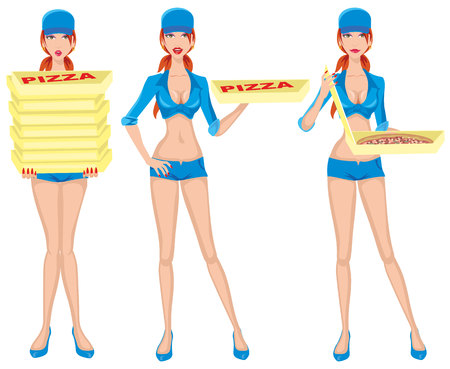 pizza delivery girl Ilustrace